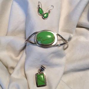 Jewelry - Sterling Turquoise Bracelet, Pendant & Earrings